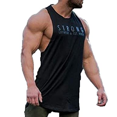 feb56b46 Amazon.com: Men Tank Top Sleeveless Bodybuilding Shirt Letter Printing Tee  Singlet Fitness Sport Vest: Clothing