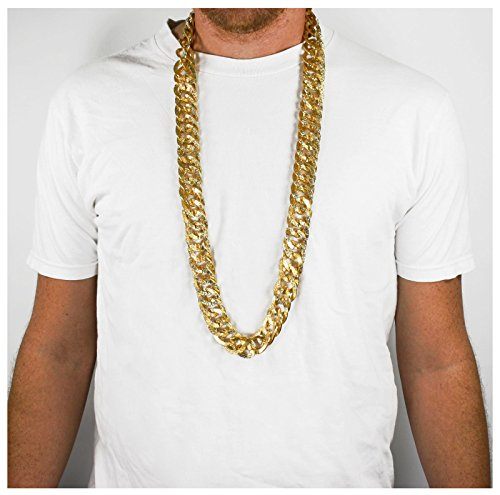 Largemouth Gold Metal Flat Link Chain Necklace (38 (Hoe Costume)
