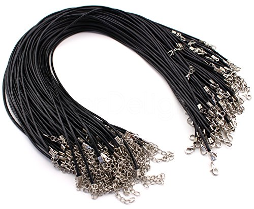 (CleverDelights 20 Imitation Leather Cord Necklaces - Black - 17 Inch - with Lobster Clasp - 2mm Thick 17
