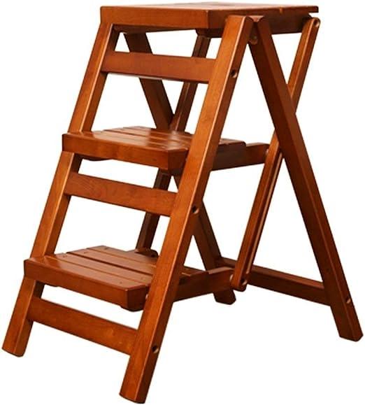 ZAQI - Taburete Infantil con escalón Ancho, Color Nogal, Escalera de Madera Plegable de 3 peldaños para Cocina doméstica, soporta 150 kg: Amazon.es: Juguetes y juegos