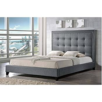 Modern Upholstered Platform Bed, Wooden Frame Construction and Gray Linen Fabric Upholstery, Multiple Size Options + Expert Guide