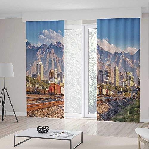 TecBillion Door Curtain,Landscape for Living Room,Downtown Salt Lake City Skyline in Utah USA Railroads Mountains Buildings Urban,79Wx83L Inches (Bird Stores In Salt Lake City Utah)