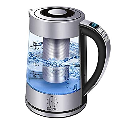 Soing Electric Kettle Pro,1.8L Glass Water & Tea Cordless Boiler,Variable Temperature Control & 24 Hours Keep-Warm Function,Detachable Tea Filter,Blue LED Indicator Light,Auto Shut-Off & Advanced Boil-Dry Protection,100% Food-Grade Stainless Steel,1500W F