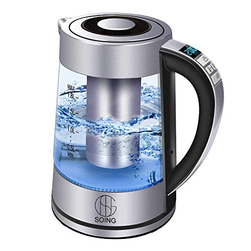 Soing Electric Kettle Pro,1.8L Glass Water & Tea Cordless Boiler,Variable Temperature Control & 24 Hours Keep-Warm Function,Detachable Tea Filter,Blue LED Indicator Light,Auto Shut-Off & Advanced Boil-Dry Protection,100% Food-Grade Stainless Steel,1500W ()