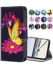 URFEDA Compatibel met Samsung Galaxy S10, leren telefoonhoes, portefeuille, beschermhoes met bont patroon, fliphoes, standaard, kaartenvak, magneetsluiting, leren hoes, klaphoes, goudkleurige vlinder