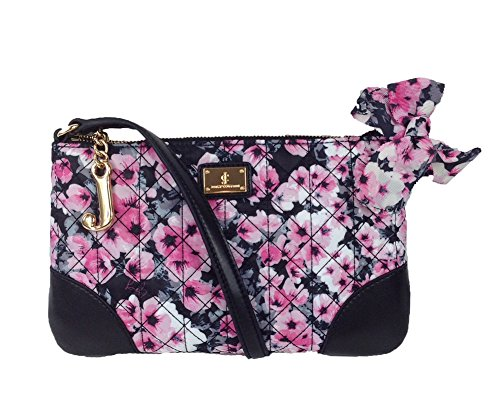 Juicy Couture Malibu Nylon Flat Crossbody, Black / Pink Floral (Pink Juicy Couture Purse)