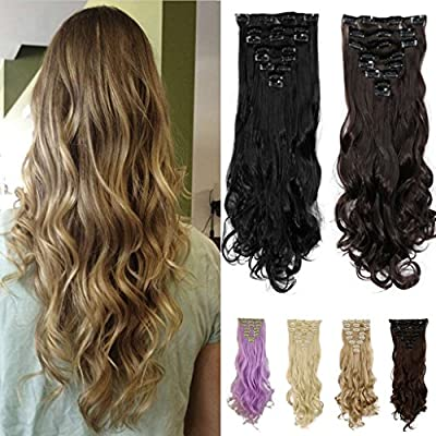 FUT 8 Piece 18 Clips in Synthetic Hair Extensions Curly Full Head 24inch 140g for Girl Lady Women