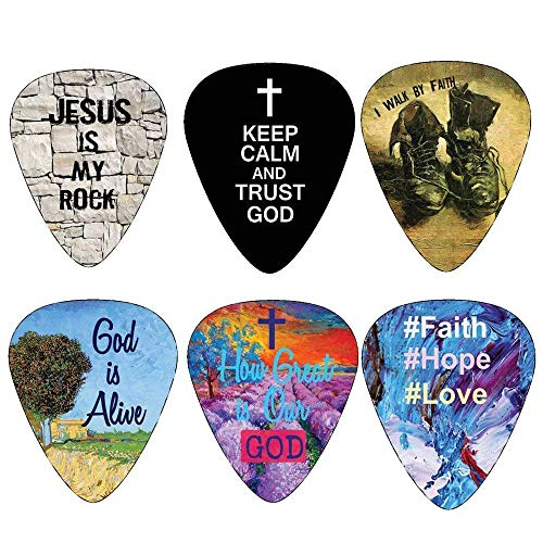Christian Guitar Picks - 12 pack - Bible Inspirational Messages - Celluloid Medium by NewEights Best Gift for Church Pastor Worship Team Baptism ()
