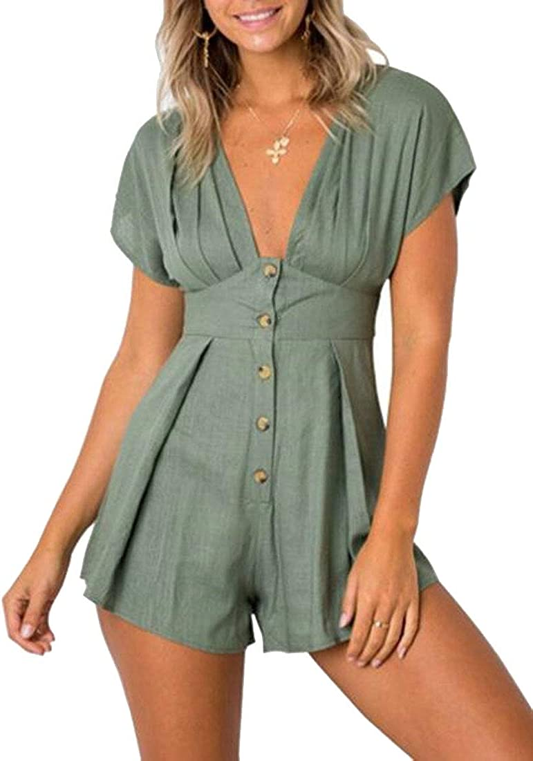 CBTLVSN Womens Jumpsuit Casual High Maxi Solid Color V Loose Fit Romper Turtle Neck Bat Sleeves