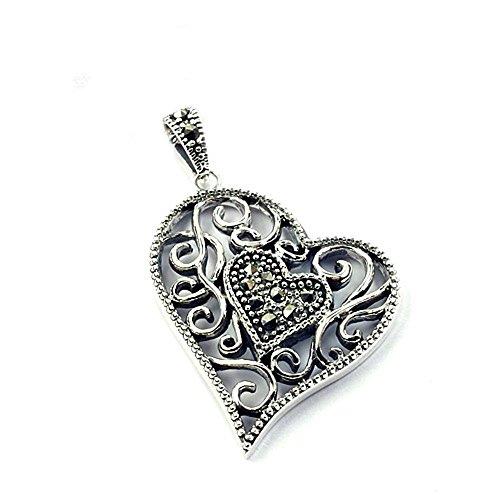- Vintage Heart Solid 925 Sterling Silver Marcasite Pendant