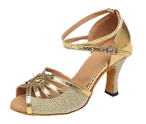 Heel Ballroom Shoes Dance Chacha Cut Glitter Women's Heel Peep MGM Wedding Floral Sandals Practice Joymod Synthetic Party Latin Out Prom Gold 8cm Flared Toe Modern 8Svaxqw7Zx