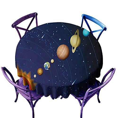 Zodel Indoor/Outdoor Round Tablecloth,Space Solar System with Sun Uranus Venus Jupiter Mars Pluto Saturn Neptune Image,Modern Minimalist,40 INCH,Dark Blue - Side Modern Table Jupiter