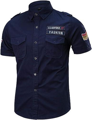 Sencillo Vida Camisas de Hombre Manga Corta Militar Camisa Casual Hombre Verano Regular Fit Camisetas Casuales Clásico Básico Botones: Amazon.es: Ropa y accesorios