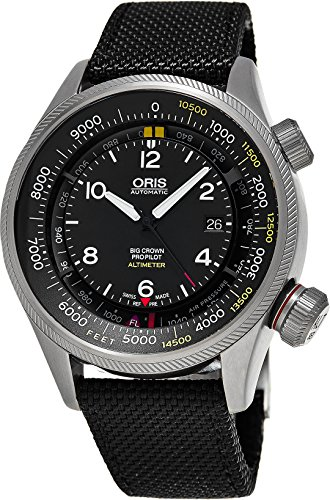 Oris Men's 'Big Crown' Swiss Automatic Stainless Steel and Canvas Casual Watch, Color:Black (Model: 73377054134LS15)