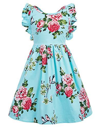 (Girls Print Floral Party Skirts Vintage Dresses 9-10yrs CL601-4)