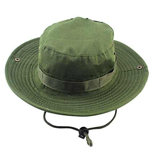 MeanHoo Camouflage Fishing Snap Brim Military hat Wide Brim Bucket Outdoor Boonie Hat (A)