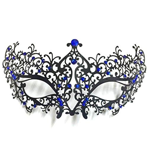 Rehot Womens Masquerade Mask Metal Rhinestone Venetian Halloween Christmas Party Evening Prom Mask (Black Metal+Blue Stones) -