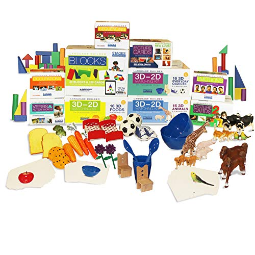 Stages Learning Materials Language Builder Picture Noun Flash Cards Photo Vocabulary Autism Learning Products, ABA Therapy 10 Boxes, 1413 Cards, Blocks, 88 Realistic 3D Items
