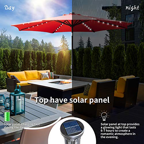KOOLWOOM 10ft Solar LED Lighted Patio Umbrella with Crank and Auto Tilt,Outdoor Umbrella with Fade Resistant Water Proof Fabric and Push Button,Without Base (red)
