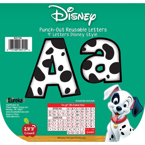 Bulletin Outs Board Punch (Eureka Back to School Disney 101 Dalmatians White and Black Spotted Punch Out Letter Classroom Decorations, 288 pc, 4'' H)
