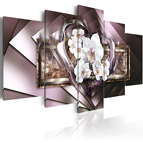 Large Mirror Crystal Canvas Art Contemporary Wall Painting Orchid Flower Decor Print Picture 5 Panel Modern White Heart Artwork Framed and Stretched (60