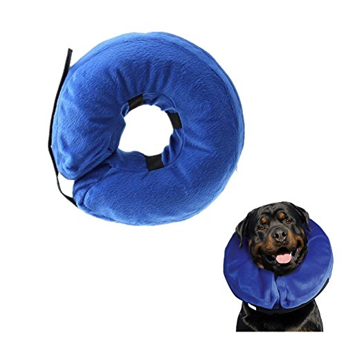 Keross Inflatable Recovery Collar for Dogs and Cats-Comfortable Soft Pet Protective E-Collar Does Not Block Vision Medical Postoperative Wound Healing Cone Blue(Neck CIR 20-26 in) ()