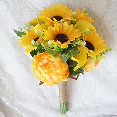 Wedding Bouquet Wildflower (Lily Garden Artificial Calla Lily Sunflower and Peony Flower Wedding Bouquets (Yellow))