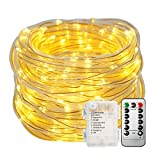 SOLMORE 33ft/10M 100 LEDs Dimmable Rope Lights with Remote Control,Waterproof 8 Modes,Battery Powered,Strip Lights for Garden Patio Party Indoor/Outdoor Decoration (Warm White)