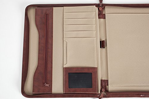 Professional Business Case Portfolio Padfolio Organizer Folder With iPad Mini, Kindle or Tablet Sleeve, Zipper, Card Holders, Pen Holder, Document Folder, and Front Paper Holder - Tan Photo #8