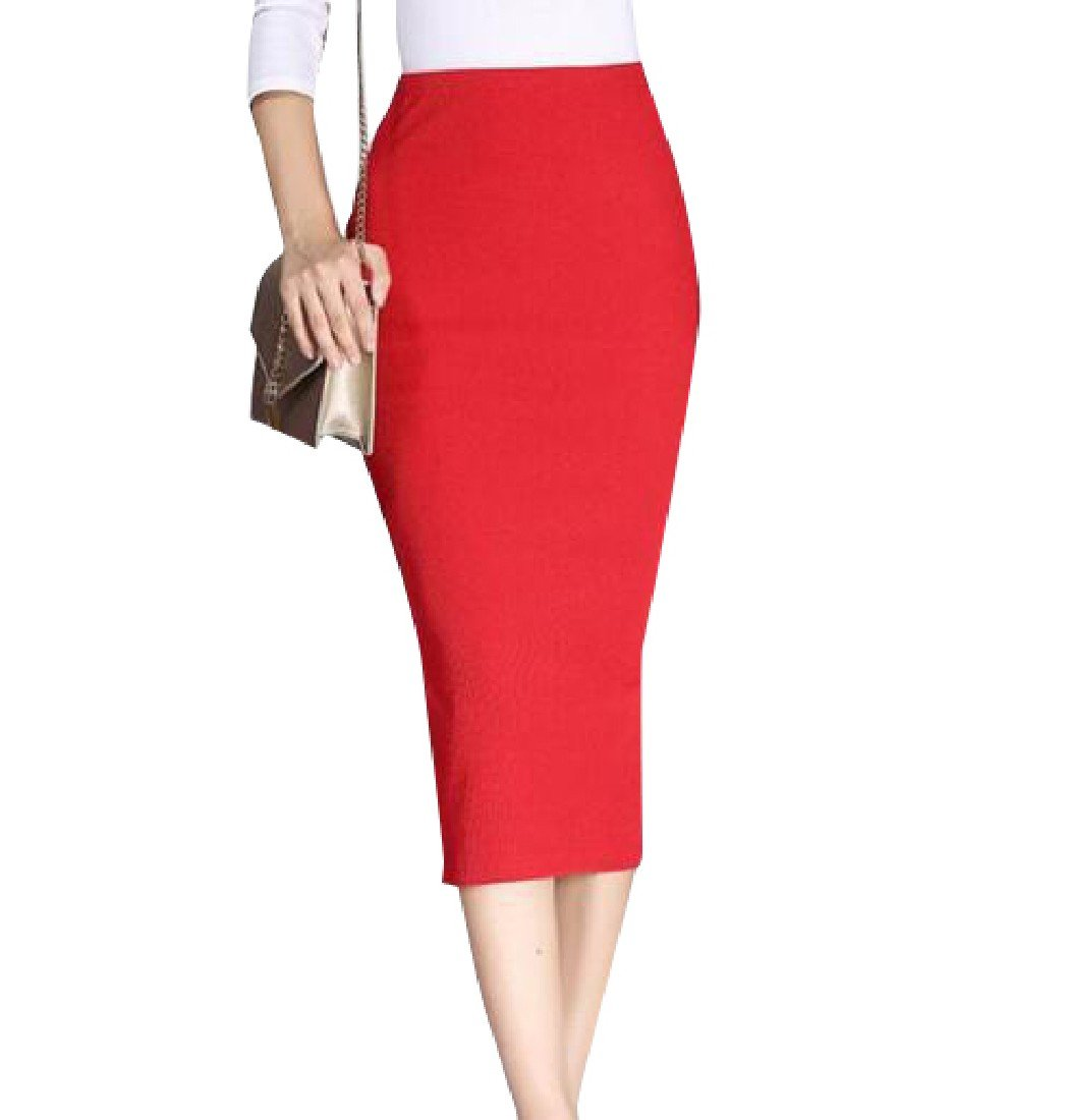 Andopa Women Split Bodycon Knitted Maxi and Midi Spring Mid Pencil Skirt Red OS