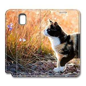 Brain114 Fashion Style Case Design Flip Folio PU Leather Cover Standup Cover Case with Calico Kitten 2 Pattern Skin for Samsung Galaxy Note 3