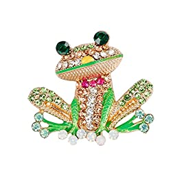 Bangle009 Multicolor Rhinestone Frog Brooch Pin Women Scarf Dress Decor Hat Bag Accessory Golden