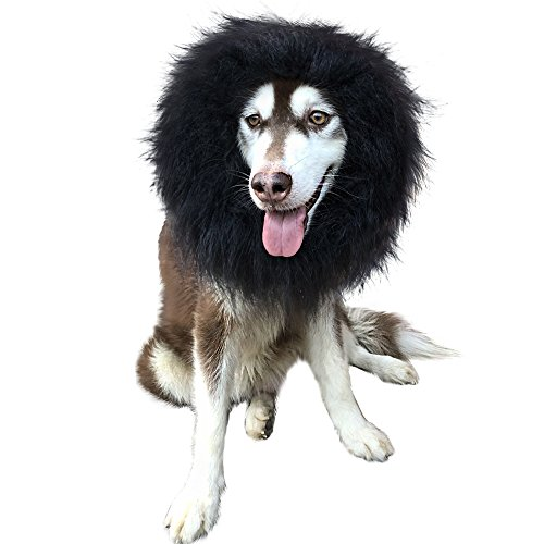 CPPSLEE Halloween Lion Mane Wig Costume - Make Your Dog Lion King - Adjustable Washable Comfortable Fancy Lion Hair Dog Clothes Dress for Halloween (F-Black Without Ear) ()