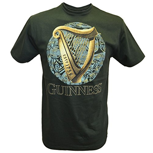 Celtic Irish Pub (Bottle Green Guinness T-Shirt With Irish Harp Design With Blue Celtic Design)