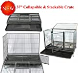 Homey Pet New 37' Open Top Heavy Duty Dog Pet Cage Kennel w/Tray, Floor Grid, and Casters (37'-Collapsible)