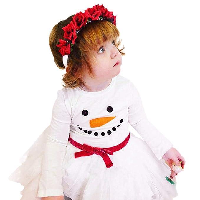 Vestidos Bebé, ❤ Modaworld Vestido con Estampado de muñeco de Nieve de Mangas largas de niña pequeña Ropa de Navidad para Bebés Vestidos de Fiesta ...