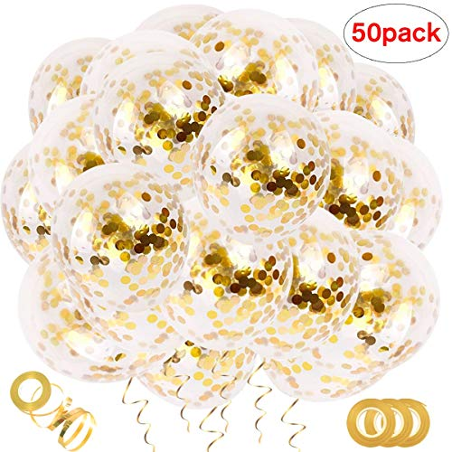 50 PCS Gold Confetti Balloons, 12 inches Confetti Filled Round Balloon Set, for Party, Wedding, Birthday Decoration Baby Shower, Bridal Shower, Graduation, Air and Helium Can Be Filled ()