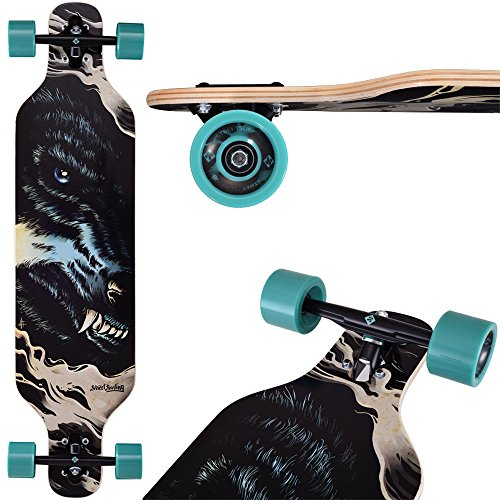 Street Surfing Longboard Symmetrical Twin-tip Drop Curve DT Freeride 39″ Wolf (Green and Black)