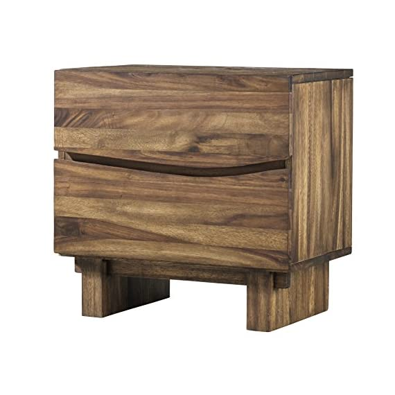 Modus Furniture Ocean Nightstand, Natural Sengon - Inspired by modern California beach-chic Crafted from solid sengon Tekik wood in a vibrant natural Finish Distinctive wave fronts provide the perfect Canvas for hidden drawer pulls - nightstands, bedroom-furniture, bedroom - 51qsehXYvvL. SS570  -