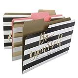 Smead SuperTab Fashion File Folder, Oversized 1/3-Cut Tab, Letter Size, 3 Designs, 6 per Pack (11954)