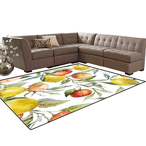 (Nature Kids Carpet Play-mat Rug Lemon and Orange Clementine Tree Branches Fruit Yummy Winter Season Vitamin Design Room Home Bedroom Carpet Floor Mat 6'6