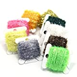 SAMSFX 90 Meters Fly Tying Materials Ice Chenille Flash Chenille Line Specific 9 Colors Assorted Small or Medium (9 Colors Chenille)