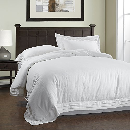 100%Linen Pure Color Duvet Cover Set 3PCS Multilayer Border Design -Simple&Opulence (White, King)