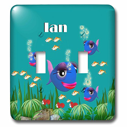 3dRose lsp_51228_2 This vibrant artwork of Fish under the sea is personalized with the name Ian Toggle switch