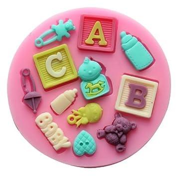 Funny Baby carta silicona Juego de cocina bandeja de molde para pudin Mini molde Craft moldes Fondant Azúcar Molde Candy para moldes: Amazon.es: Hogar