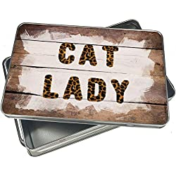 NEONBLOND Cookie Box Cat Lady Cheetah Cat Animal Print Christmas Metal Container