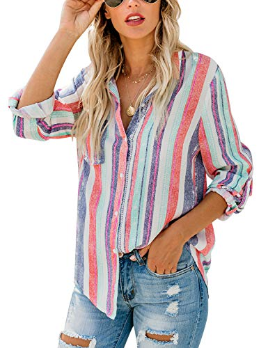 Lookbook Store Women Casual Striped Button Down Cuffed Sleeve Multicolor Shirt Top Size XX-Large (Fits US 20-US 22) ()
