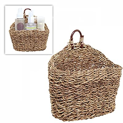 MyGift 6.5-Inch Handmade Weave Hanging Storage Basket/Multipurpose Small Indoor Display Bin - A hand-woven rattan storage basket that will bring stylish design to any room in your home. Holds perfectly various household items such as cosmetics, towels, faux plants, keys, pens, pencils and more. Stylish baskets can be used to display dried flowers, or floral or succulent arrangements - living-room-decor, living-room, baskets-storage - 51qsg2IK42L. SS400  -