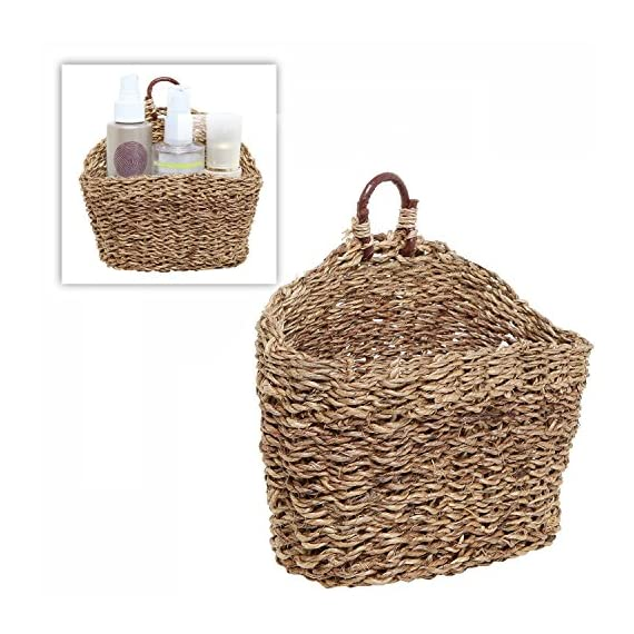 MyGift 6.5-Inch Handmade Weave Hanging Storage Basket/Multipurpose Small Indoor Display Bin - A hand-woven rattan storage basket that will bring stylish design to any room in your home. Holds perfectly various household items such as cosmetics, towels, faux plants, keys, pens, pencils and more. Stylish baskets can be used to display dried flowers, or floral or succulent arrangements - living-room-decor, living-room, baskets-storage - 51qsg2IK42L. SS570  -