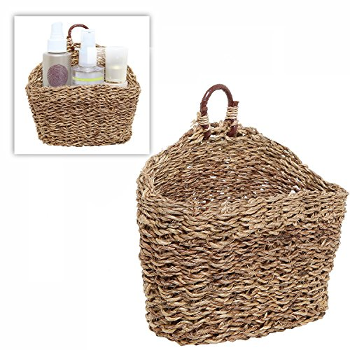 6.5 Inch Handmade Weave Hanging Storage Basket / Multipurpose Small Indoor Display Bin, Brown (Baskets That Hang On The Wall)